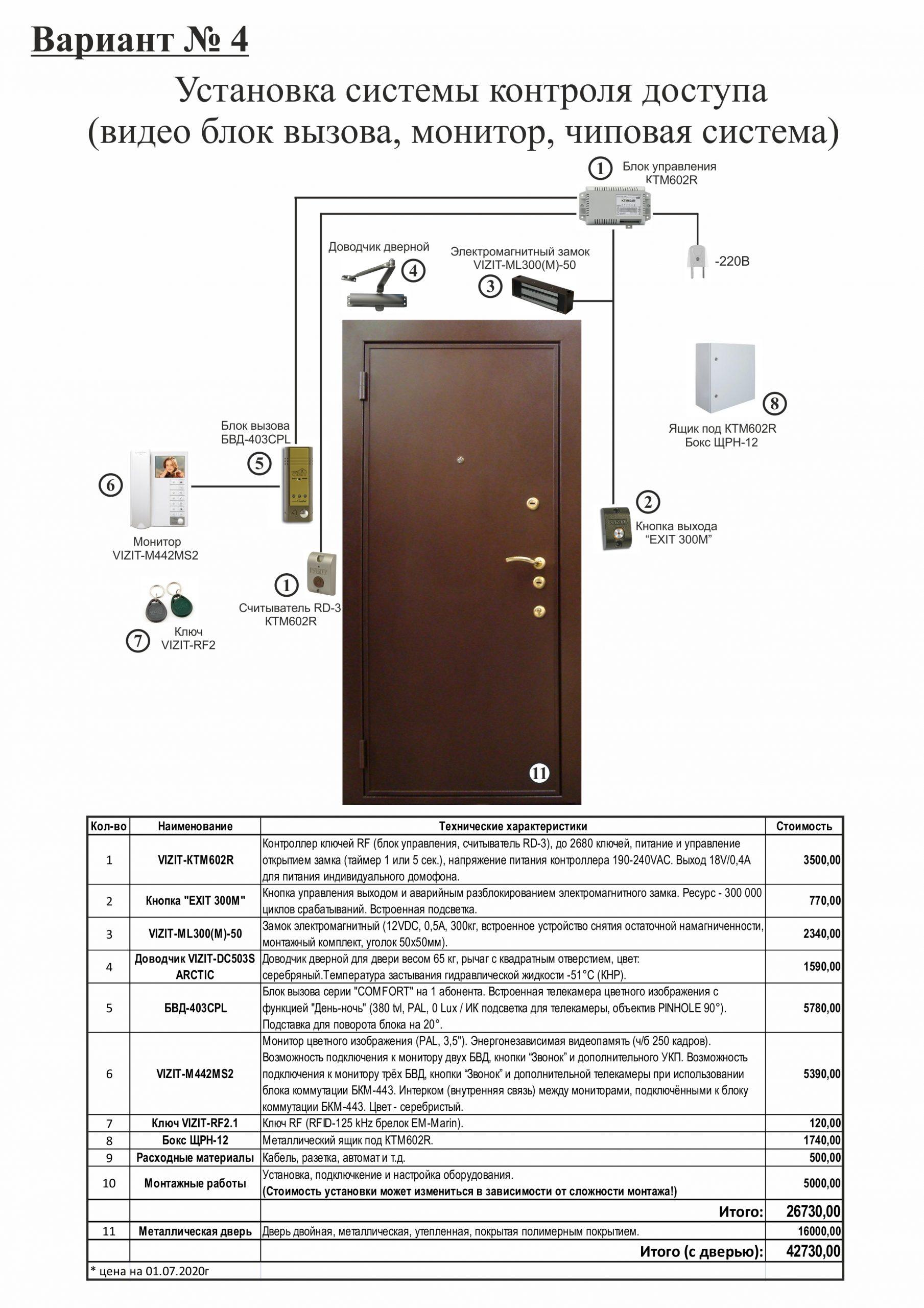 Установка КТМ602R, БВД-403CPL и Монитора VIZIT-М441MG