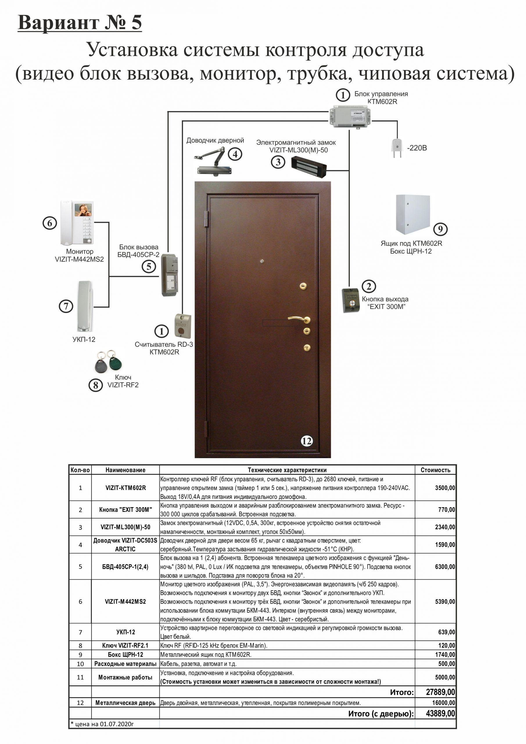 Установка КТМ602R, БВД-405CP-2, Монитора VIZIT-М441MG и УКП-12